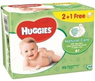 Салфетки детские Huggies Natural Care 2+1 3*56шт/уп
