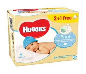 Салфетки детские Huggies Pure 2+1 3*56шт/уп