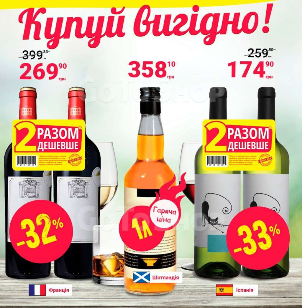 Вино (Вермут, Шампанское), Виски, Бурбон