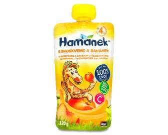 Пюре Hamanek яблуко-персик-банан, 120г