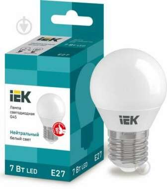 Лампа світлодіодна IEK ECO 7 Вт G45 матова E27 220 В 4000 К:   Напруга: 220 В     Потужність: 7 Вт     Світловий потік: 630 Лм     Тип колби: G45     Тип цоколя: E27