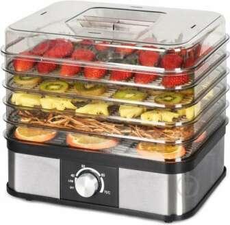 Сушарка для овочів та фруктів HausMark FD-2510B:   Потужність: 250 Вт     Кількість секцій: 5     Оснащення: захист від перегріву, регулювання температури, термостат     Колір: чорний     Керування: механічне