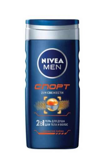 Гель для душу Nivea Men 250 мл 2в1 Спорт чоловічий для тіла і волосся з ароматом лайма, 250 мл